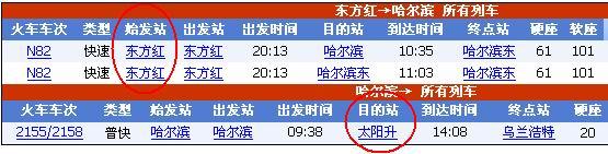 列车时刻表:东方红 至 太阳升