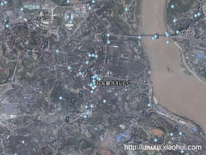 史上最牛钉子户在整个重庆卫星图片中的位置