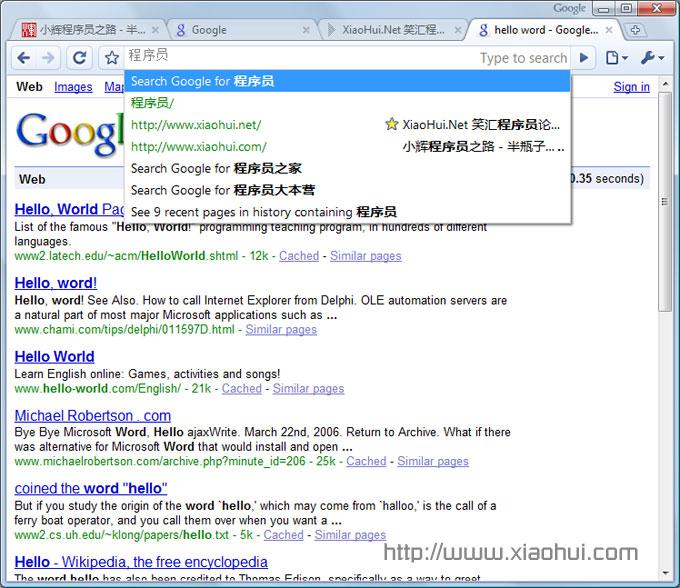 igoogle chrome 运行界面: Google 搜索