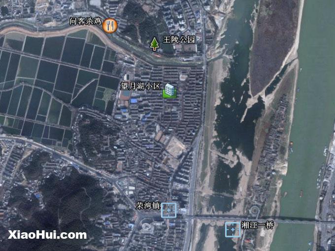 问客杀鸡在长沙卫星地图中的位置: (参照物:荣湾镇, 望月湖小区)