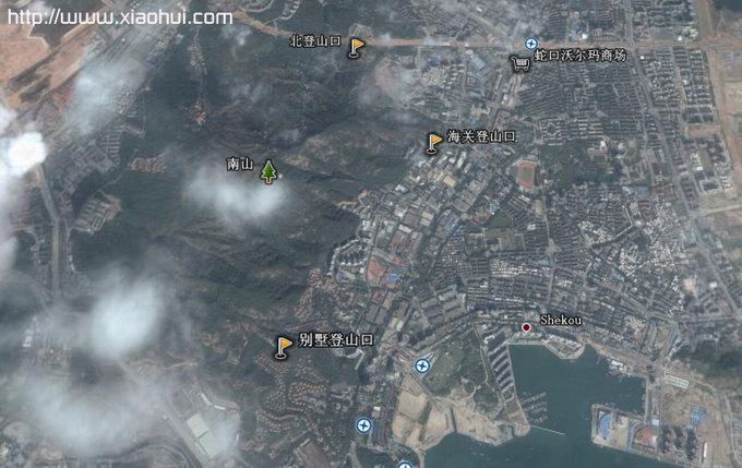 深圳南山登山口的卫星示意图: 北登山口,海关登山口,别墅登山口